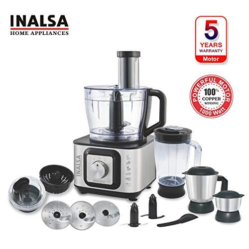 Inalsa Food Processor INOX 1000-Watt with Blender Jar / 304 Grade SS Dry Grinding/Chutney Jar / 7 Accessories | 2 Yr Warranty on Motor |Centrifugal/Citrus Juicer | (Black/Silver)