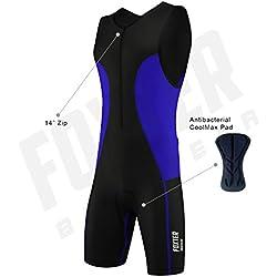 Traje de compresión, bañador para hombre de rendimiento activo para triatlón: atletismo, natación y ciclismo., azul, Medium
