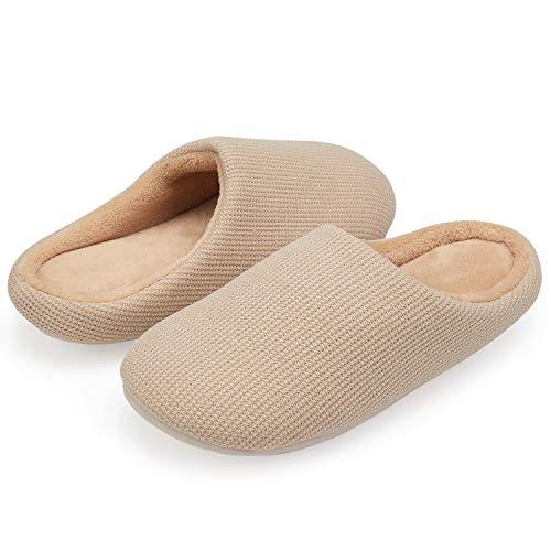VIFUUR Frauen Haus Hausschuhe High Density Memory Foam Warm Indoor Outdoor Rutschfeste Gummisohle Baumwolle Mule Schuhe Tan 36/37 S