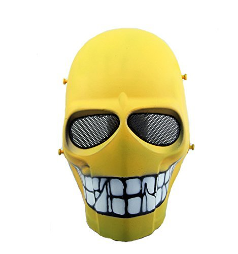 Halloween Paintball Kostüm - Worldshopping4U - Ganzgesichts-Schutzmaske für Airsoft, Paintball, Cosplay, Hockey, Halloween, als Kostüm, Schwarz/lächelnd/Kreuz/Totenkopf, Yellow Smile