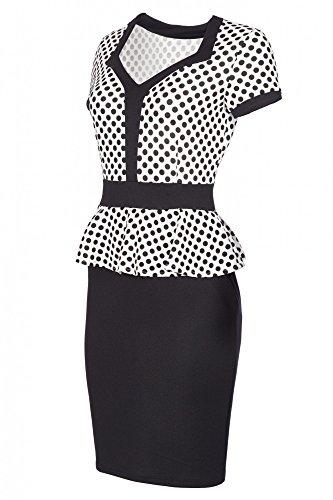 Laeticia Dreams Damen Kleid Kurzarm Knielang Schößchen S M L XL, Farbe:Weiß/Schwarz Punkte Klein;Größe:36 (Dot Schwarz Weiß Polka Kleid)