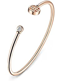 KEA SHIMMERING ROSE GOLD FLOWER BANGLE BRACELET FOR WOMEN 925 STERLING SILVER WITH ROSE GOLD PALTING(ROSE GOLD...