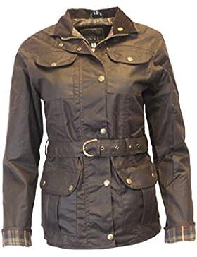 Chaquetaencerada con cinturón para mujer, de Walker and Hawkes, con 4bolsillos, color marrón