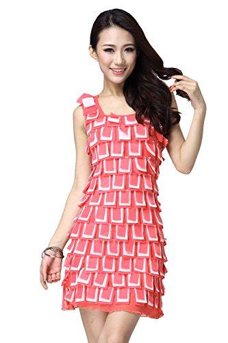FaithYoo Damen Schößchen Kleid Einheitsgröße peach-white