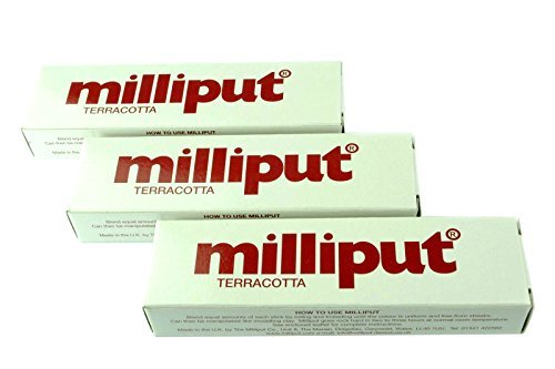 3 x Milliput Putty Terracotta 2 Part Epoxy Putty. Model, Filler, Ceramic, Repair. (X1016b) Free UK Postage by Proops -