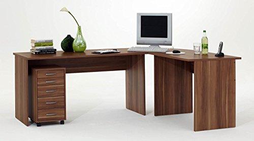 Schreibtisch Eckschreibtisch Winkelschreibtisch in Walnuss mit Rollcontainer