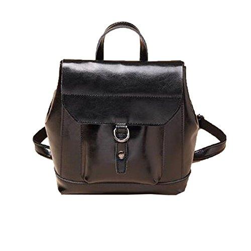 Frauen Leder Rucksack Für Mädchen Drawstring Schultasche Casual Daypack,Black-M (Drawstring-rucksack Mädchen)