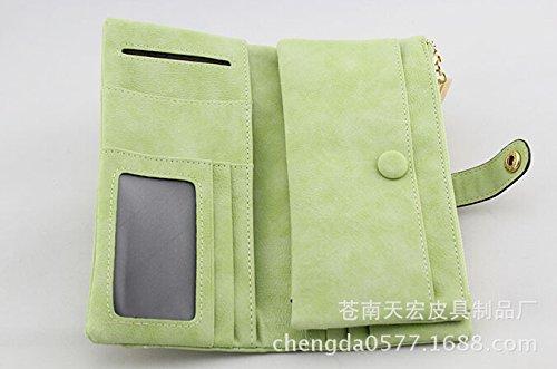 Casadeiy Moorejieka Fashion cuoio portafoglio pulsante borsa Lady lungo da donna borsetta Green Green