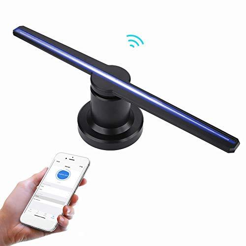 Holographischer Projektor 3D, WiFi-Telefon APP steuern Projektions-Werbungsanzeige LED-Fan HD-3D mit 150 Grad-Weitwinkelvideos / -bildern, die Projektor für Speicher, Stab, Kaffee, Geschäft, etc.(EU)