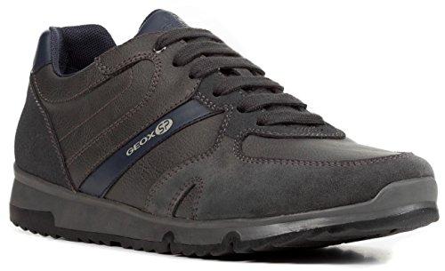 Geox U823XB Wilmer Sportlicher Herren Sneaker, Schnürhalbschuh, Freizeitschuh, Atmungsaktiv Grau (Anthracite), EU 42