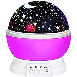 Cadeau Fille 2-10 Ans, DMbaby Projecteur de nuit étoilé Rotation à 360 degrés Cadeau de Noël Fille Cadeau de Noël Pour Enfants Cadeau D'anniversaire Fille Jouet Fille 2-10 Ans violet NL02