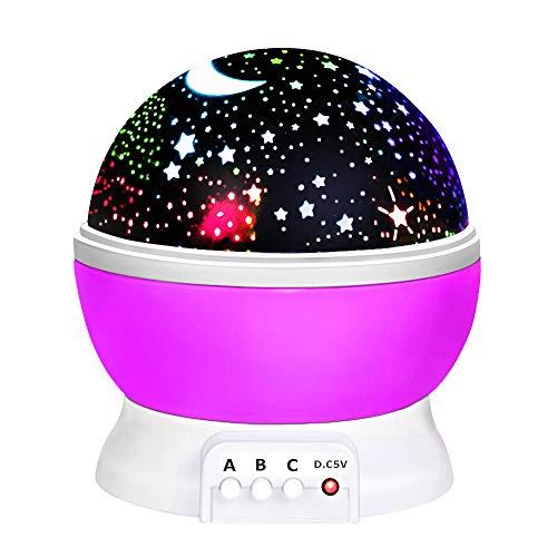 DMbaby Weihnachten Geschenke für Mädchen Kinder, Sternennachtlichtprojektor 360-Grad-Umdrehung Geschenke 2-8 Jährige Mädchen Geschenke für 2 Jährige Mädchen Lila NL02 - 3-jähriges Geschenke Mädchen