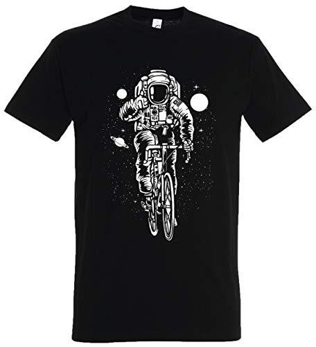 T-Shirt Herren/Damen Schwarz mit Astronaut Fahrrad Aufdruck (5XL, ()