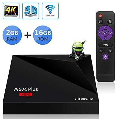 Sidiwen Android TV Box A5X Plus Mini Set Top Box 2GB RAM 16GB ROM Rockchip RK3328 Quad Core Support USB 3.0 WIFI 2.4G Ethernet 100M LAN 3D 4K Ultra HD H.265 HEVC Internet Smart Media Player