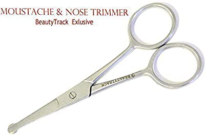 BeautyTrack New Nose Scissor Stainless Steel Mustache Scissors Baby Hair Trimming Scissor Grooming Beard Scissor Eyebrow Scissor Stainless Steel J2 Silver Sharp Hair Removal Tools