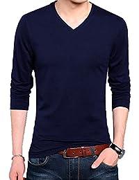 Wild Thunder T Shirt - Full Sleeve V Neck Plain 100% Cotton T Shirt - Navy Blue Full Hand V Neck Cotton T Shirt