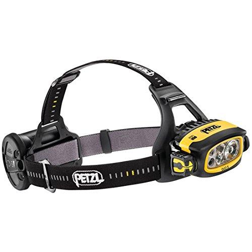 Petzl Stirnlampe LED Stirnlampe Duo S schwarz gelb–Taschenlampe (Taschenlampe mit Band für Kopf)