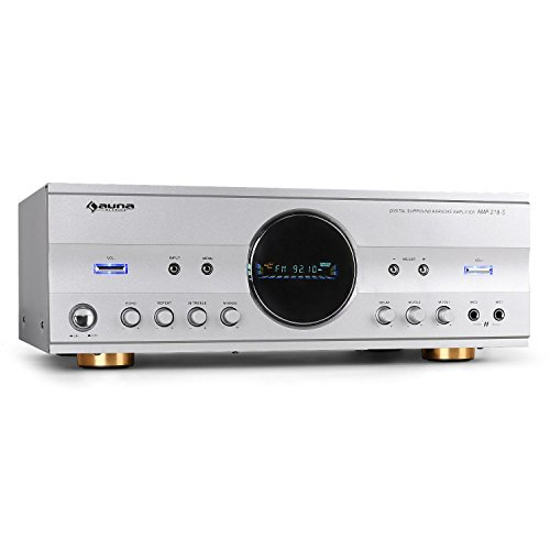 auna Amp-218  5.1-Kanal Receiver  Audio-Verstärker  HiFi-Receiver  600 Watt max. Leistung  Radio  40 Senderspeicher  inklusive Fernbedienung  Design-Blende  2 x Cinch-Eingang  1 x Klinke-Eingang  2 x Mic-In frontseitig  20 Hz bis 20 kHz  silber
