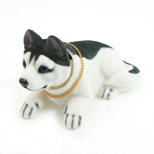 Decorazione giocattolo per cruscotto auto cane husky che dondola la testa