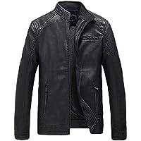 barmolas men's leather jacket black (L)