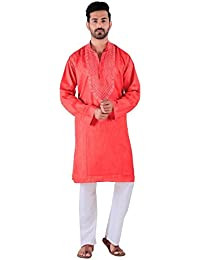 BDS Chikan Cotton Dark Peach Kurta for men's Lucknowi Chikan Work - BDS00885
