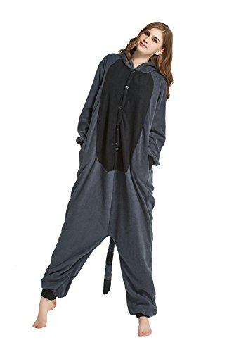 URVIP Erwachsene Unisex Jumpsuit Tier Cartoon Fasching Halloween Pyjama Kostüm Onesie Fleece-Overall Schlafanzug Grau Waschbär Large