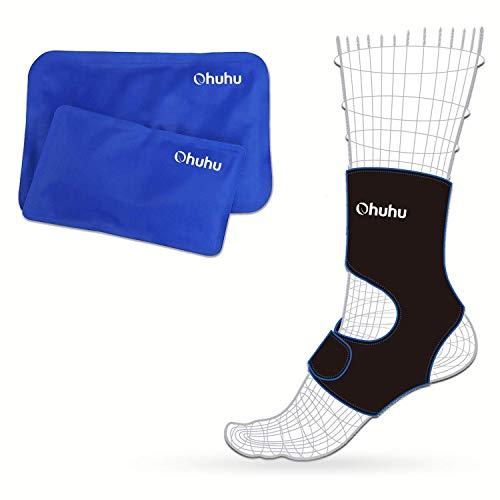 Ohuhu Fuß & Knöchel Eisumschlag mit 2 Heiß- / Kaltgel-Eispackungen, wiederverwendbarer Eisbeutel für Verletzungen - Kalt & Heiß-Therapie für Knöchel-, Ellbogen- und Fußschmerz - Knöchel-verletzung Behandlung