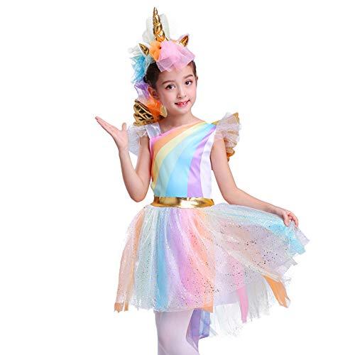 Regenbogen-Einhorn-Kostüm des Mädchens Halloween-Partei-Ballettröckchen-Kleid mit Flügel-Stirnband ()