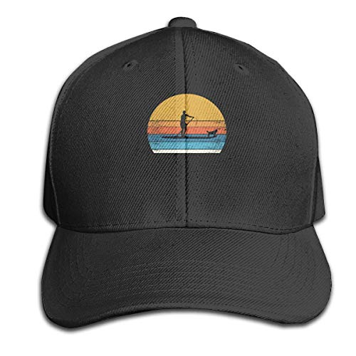 Surfer and Dog Pure Color Peaked Cap Adjustable Dad Hats Fits Men Women Black