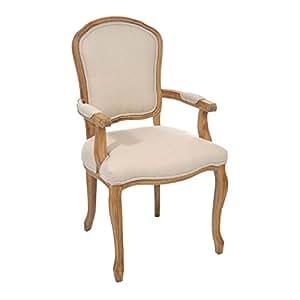chaise avec accoudoirs style louis xv coloris naturel et ivoire cuisine maison. Black Bedroom Furniture Sets. Home Design Ideas