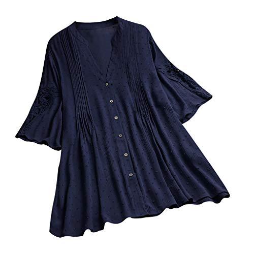COZOCO 2019 Bluse Frauen Plus Größen-Weinlese-Kurzschluss-Hülsen-V-Ansatz Spitze-Knopf-Oberseite T-Shirt Bluse Oberteile Marine 5XL
