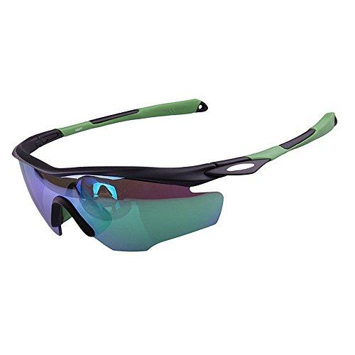 Ombrelloni sportivi luminoso colorato polarizzato unisex sport occhiali da sole ciclismo baseball in esecuzione pesca golf arrampicata occhiali da motociclista (colore : verde)