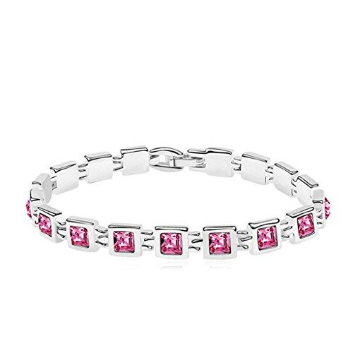 Aooaz placcato in oro bianco braccialetto per le donne, matrimonio braccialetto a catenas CZ cristallo Zirconia cubica, piazza rosa