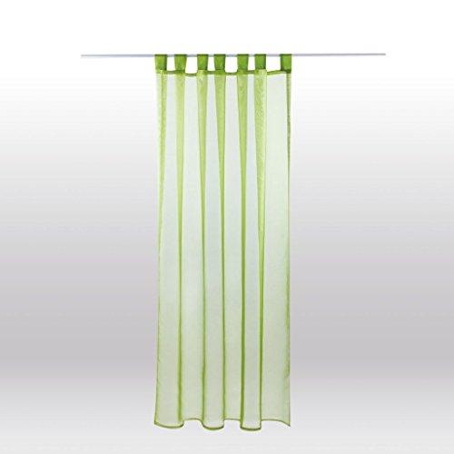 Transparenter Dekoschal b 140x l 245 cm Schlaufenschal Voile, elegantes und stilvolles Wohnaccessoire in vielen verschiedenen Farben erhältlich (grün - olivgrün)