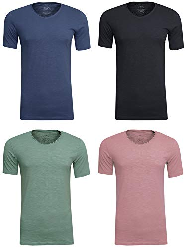 JACK & JONES Herren T-Shirt JORBirch Tee SS V Neck Basic Slim Fit, (4er Set 2,XL) - Weihnachten T-shirt Tee