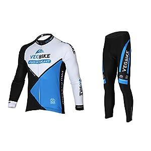 Asvert Conjunto Ciclismo Hombre Invierno 3D Cojín Ropa de Ciclismo Transpirable Malliot de Ciclista Elástica y Erconómica, Azul