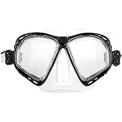nadamuSun Professionnel Masque de plongée avec dioptries Correction myopes myopie Optique lentilles correctrices Snorkeling Lunettes Tuba plongée- blackwhite1 (Black White, -2.5)