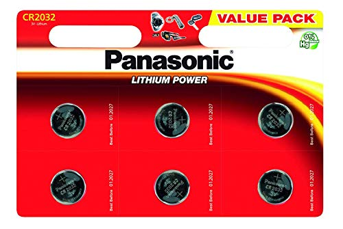 Carte de 6 batteries Panasonic CR2032 Lithium 3V