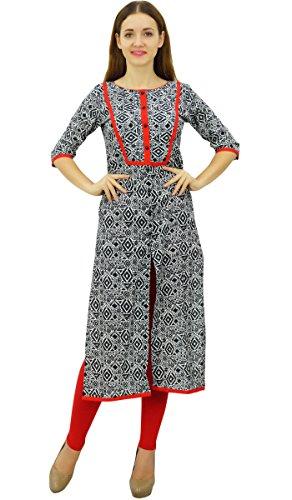 Phagun Femmes en Coton Imprimé Tunique à Manches 3/4 Kurta Avant Cut Kurti Noir