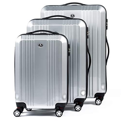FERGÉ set di 3 valigie viaggio CANNES - bagaglio rigido dure leggera 3 pezzi valigetta 4 ruote girevole blu