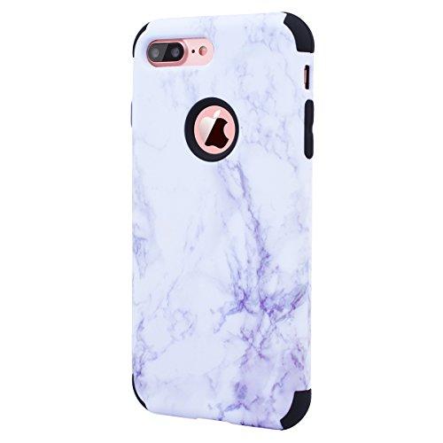WE LOVE CASE iPhone 7 Plus / iPhone 8 Plus Cover Marmo 360-Grad All Inclusive Full Screen Protection Anti-Drop iPhone 7 Plus / iPhone 8 Plus 5,5 Custodia Rose Oro Cassa Duro del PC di Plastica e Sili black