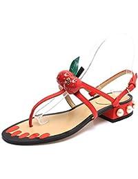 153fd0821ab04c TAIYCYXGAN Sommer Baby Sandalen Kinderschuhe Mädchen Süß Kirsche Sandalen  Sehr Bequem · Sommer mit niedrigen Absätzen Schuhe Kirsche Perlen Sandalen  flache ...