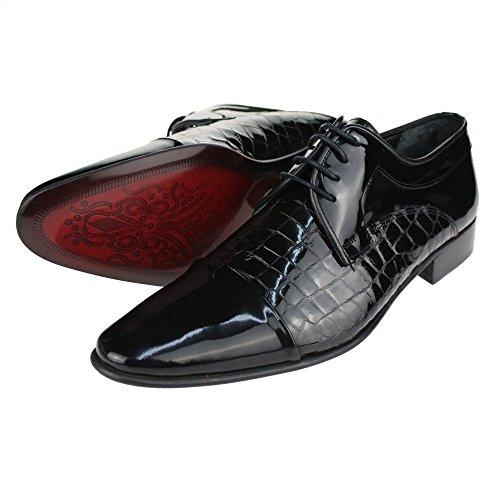 Aarz Mens Gents Smart Comfort Formal Lace Up Leather Bureau Robe Chaussures Taille (Noir, Brun) Noir