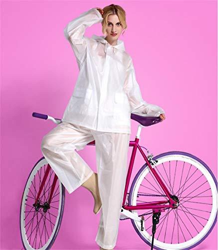 Geyao Eva Erwachsener im Freien REIT Regenmantel Regen Hosen weiblichen Anzug Mode Umweltschutz Motorrad Elektroauto Poncho Männchen (Color : Weiß, Größe : L)