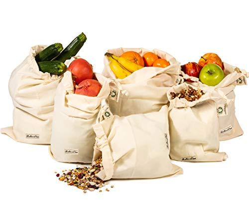 Baumwoll Gemüsetaschen, Organische Taschen, Brotbeutel Baumwolle, Musselin Produzieren Taschen, Netztaschen, Für Obst Und Gemüse, set of 4