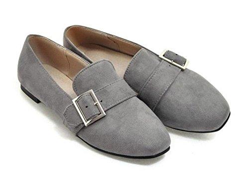 DONNA chiuso le dita dei pattini delle pompe Fibbia in metallo pelle scamosciata singolo scarpe piatte da tennis Scarpe Grigio Rosa Rosso Nero Grey