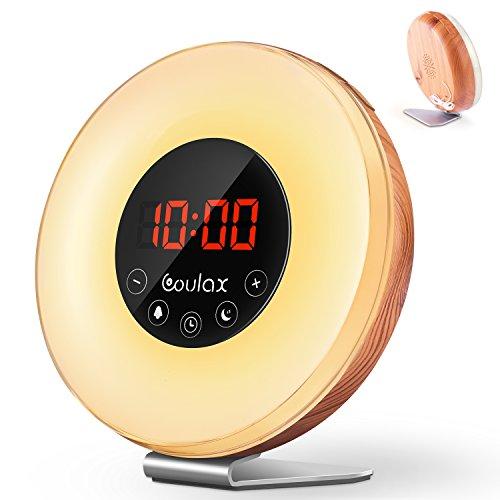 Holz Wake Up Licht Lichtwecker Wecker Sonnenaufgang mit 6 natürlichen Sounds & FM Radio Snooze Funktion Verblassenden Nachtlicht mit 7 Farben Touch Control Nachttischlampe für Erwachsene und Kinder (Zimmer-wecker)