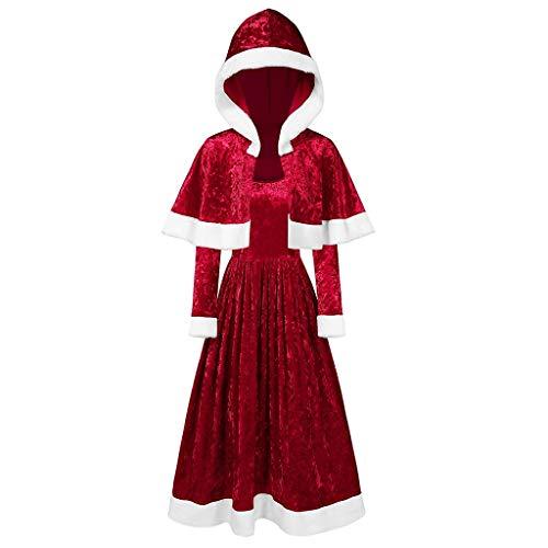 Kostüm Irische Göttin - ODRD Merry Christmas Damen Frohe Weihnachten Samt Langarm O-Neck Festival Kleid + Schal Cape, Göttin Rock Weihnachtskleid Weihnachtsparty