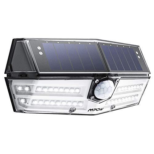 Mpow Premium Luz Solar de Exterior 40LED, Impermeable IP66, Ángulo de Iluminación de 270°, Lámpara Solar de Pared con Sensor de Movimiento y Panel Solar de Alta Eficiencia para Jardín