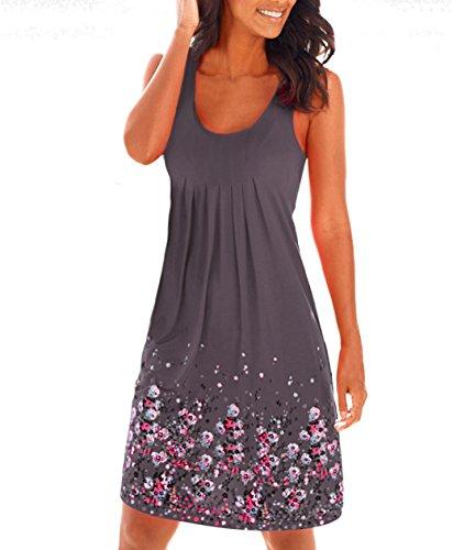Damen Sommerkleid ohne ärmel knielang Strandkleid Elegant Partykleid cocktailkleid Spitze Druck A-Linie Kleider (L, Kaffee)